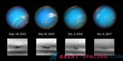 Хъбъл наблюдава странната буря на Нептун