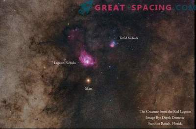 Mars ja udused uimastamisel öösel taevas fotograafias